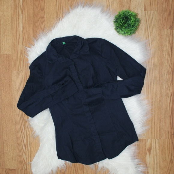 United Colors of Benetton Navy Button Up S EUC